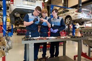 Automotive Import Technology students at work in the newly renovated Rodenheiser building, 2014